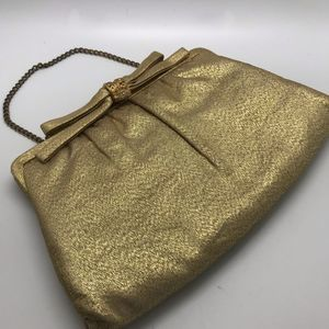 Vintage Gold Metallic Rhinestone Evening Clutch